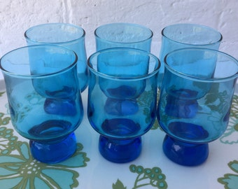 Set of 6 Retro electric blue glasses Vintage Glassware