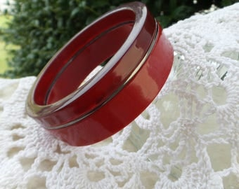 Two Tone Red Lucite Bangle