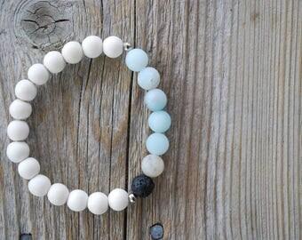 Essential oil diffuser bracelet yoga bracelet mala beads meditation bracelet yoga jewelry lava beads amazonite bracelet white wood bracelet