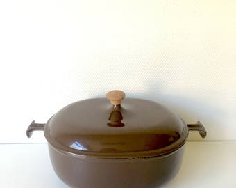 "Le Creuset casserole from the ""Mama"" collection by Enzo Mari, enamelled cast iron casserole, chocolate brown casserole, Le creuset cookware"