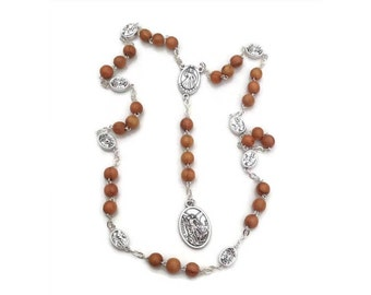 St michael chaplet, catholic gift, Jerusalem olive wood rosary, san Miguel rosario, saint michael archangel, st michael meda