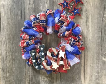 """8"""" Patriotic Wreath - Red, White & Blue -  4th of July - with Stars"""