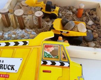 Construction Small World w/ Truck Book Sand Box Sensory Bin Montessori Classroom Discovery Box Reggio inspired Loose Parts Pretend Play Toy