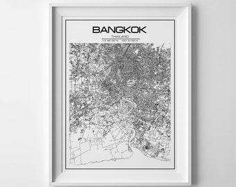 Bangkok map art, Latitude Longitude, City map, Coordinates Wall Art, Bangkok print, map poster, Thailand print, Bangkok poster, Travel map