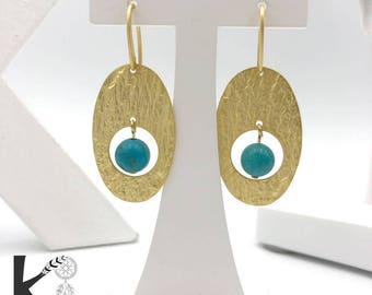 Turquoise and gold dangling earrings