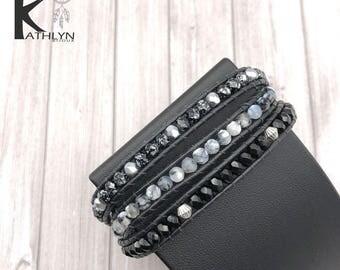 Wrap bracelet wrap around black and grey