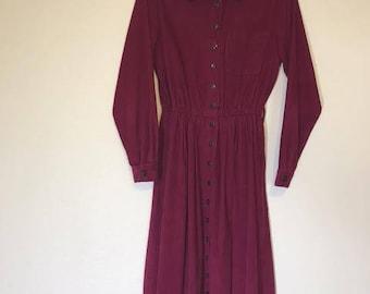 Vintage Bedford Fair Pink Corduroy Dress with Pockets