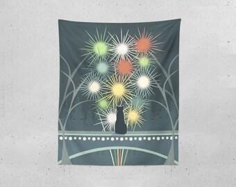 Cat Tapestry, Nursery Tapestry, Outdoor Tapestry, Fireworks Tapestry, Illustration Tapestry, Indoor Tapestry, Modern Wall Decor