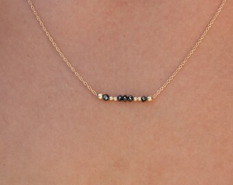 Diamond Necklace-Gold Necklace-Bar Necklace-Genuine Black Diamond-Tiny chain-Delicate Necklace-Chain Necklace-Gold Necklace-Gold chain