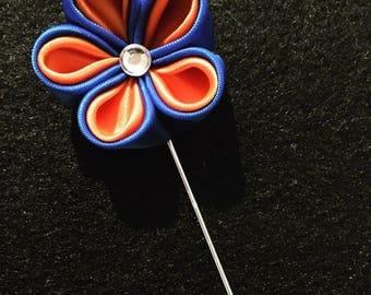 orange and blue Kanzashi lapel pin