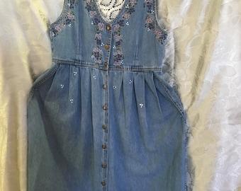 Denim dress by Jane Ashley /Hand Painted & Embroidered/Size Medium