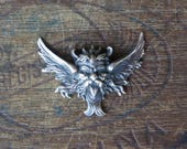 Vintage French Brass Stamping/Antique Style/Winged Gargoyle/Devil/Diablo/French Findings
