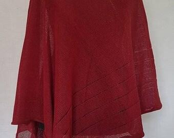 Bright red poncho, linen poncho, summer poncho, knit poncho, knit cape, linen cape, red cape, linen shawl, red shawl, linen shawl