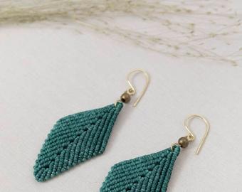 Macrame earrings, handmade jewelry, handmade earrings, micro macrame, leaf earrings