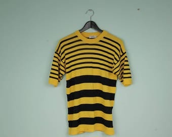 80s vintage striped sweater short sleeve pullover thin sweater bee black and yellow stripes sweater