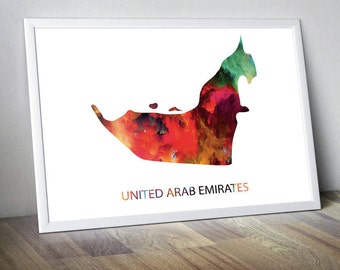 United Arab Emirates Watercolor Map United Arab Emirates Artwork United Arab Emirates Wall Art United Arab Emirates Photo Arab Emirates Art