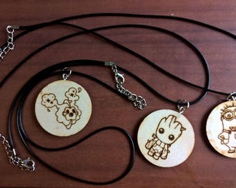 Laser engraved wooden necklace - Pokemon, Game of Thrones, Starwars, Baby Groot, Ghibli and minions