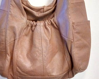Vintage Genuine Soft Brown Leather Purse Shoulder Hand Bag Retro Made in Mexico