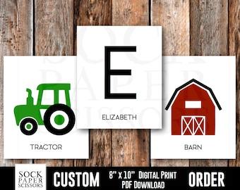 CUSTOM Name Sign Printable Print, Farm Nursery Theme, Tractor Nursery Art Kids Monogram, Farm Nursery Decor pdf Digital Download, Sku-CNA118