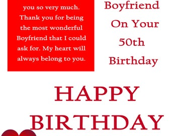 Boyfriend 50 Birthday Card with removable laminate