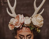Doe Antler Flower Headband | Deer costume, Doe costume, Flower Wreath, Halloween, Antler crown, Antler headband