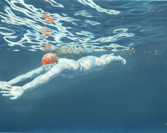 Original Art - Reflections II - Painting in gouache, watercolour & gold leaf. Swimmer / bather from underwater. Artwork by Nancy Farmer