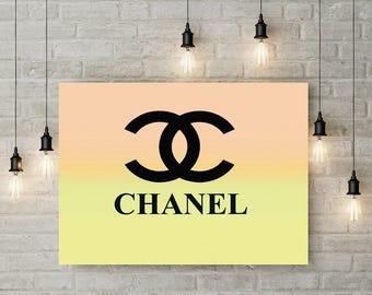 Chanel Logo Art, Print or Canvas, Chanel Wall Decor, Coco Chanel Picture, Yellow Orange Sherbert Chanel Pop Art, Living Room, Bright Colors