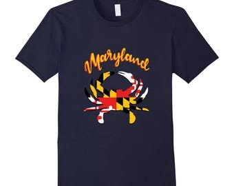 Maryland State Gift - Maryland Top - Maryland Shirt - Maryland Tee - Crab T Shirt - Maryland