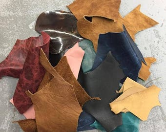Mixed Leather Scraps, leather remnants, leather pieces, great for leather work, jewelry, crafts, sewing.