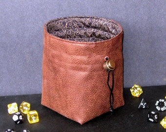 Adventurer - Leather Dice Bag, Stand Up Money Pouch, RPG, Renaissance Faire, Strategy Games, Dungeons & Dragons, Cosplay