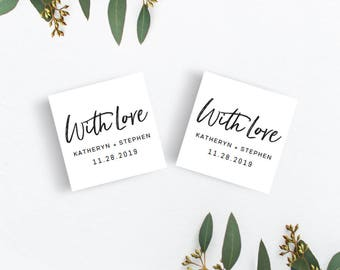 WITH LOVE Wedding Favor Tags Template Download, Printable Editable Wedding Favor Tags, Gift Tags, A4 US Letter Wedding Tag Instant Download.