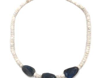 Short mystic moonstone and labradorite gemstone necklace