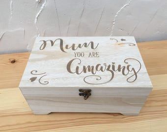 Engraved Wooden Jewellery Box - Mum You Are Amazing - Mothers Day Gift