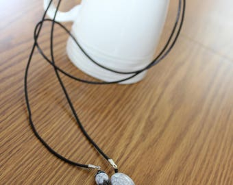 Black and white stone wrap necklace