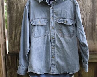 100% Cotton Gap Long Sleeve Denim Shirt Men's Small