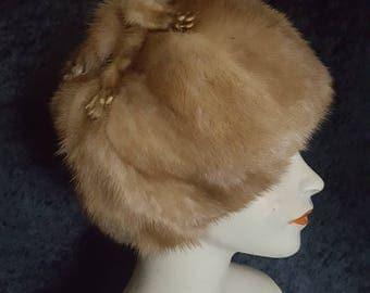 1950s Mink Fur Hat, 50s Mink Fur Hat, Vintage Mink Hat, Vintage Fur Hat, Mink Fur Hat, Vintage Fur, Real Fur Hat, Honey Mink Fur Hat