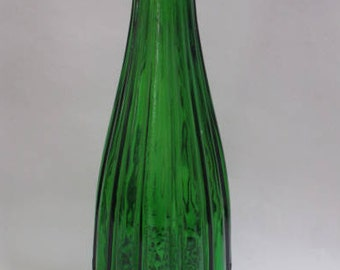Amazing tall vintage bottle green glass decanter in pristine condition with diamond point pattern at the base