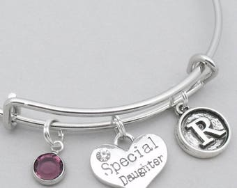 Special daughter vintage initial bracelet | daughter bangle | personalised daughter bracelet | daughter jewelry | special daughter gift