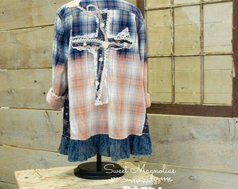 Flannel Shirt - Tunic  - Boho Clothing - Upcycled - Womens Med. A- Line Style - Jacket , Blue Grunge Ombre Plaid Vintage Lace Cross