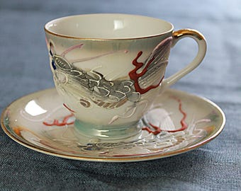 Japanese Porcelain Cup and Saucer Hand Painted