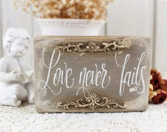 Love never fails small scripture signs Rustic wedding calligraphy sign Handpainted Reclaimed wood block bible verse gift Love sign Shelf art