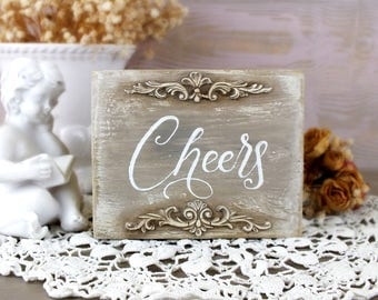 Cheers sign Wedding cheers decor Home bar cart decor Small wood vintage style sign Party bar Toast sign Bar signage Party Reception sign