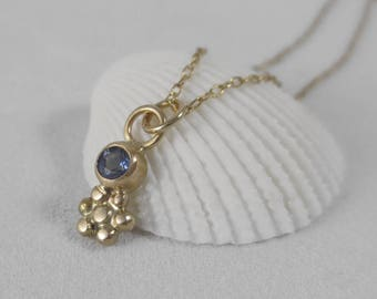 Meadow Pendant * 14k Gold Blue Sapphire and Daisy Wildflower Necklace * Delicate Sweet Modern