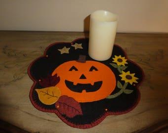 Pumpkin, fall decoration, Halloween decoration, leaves, sunflowers, orange pumpkin, wool blend felt, candle mat, table top decor, office