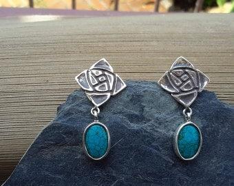 No.79  Arizona Turquoise Post-Dangle Earrings