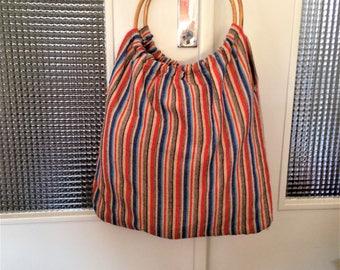 Handbag cotton and bamboo handles