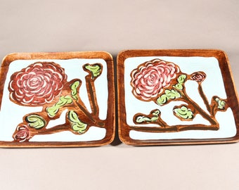 Aster - Hand painted solid Wood Trays (Set of two)