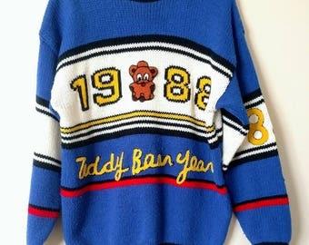 1988 / Oversized Sweater / Teddy Bear Year