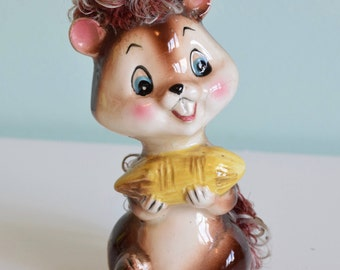 Vintage Kitsch Ceramic Squirrel 1962, Vintage Japan, Big Eyes, cute fur squirrel, collectable