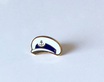 VINTAGE NAVY BADGE sailor hat / naval officer / memorabilia / blue white gold / enamel pin / nautical / sea